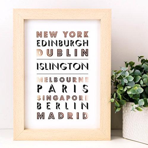 Locations Personalised Metallic Print x 3