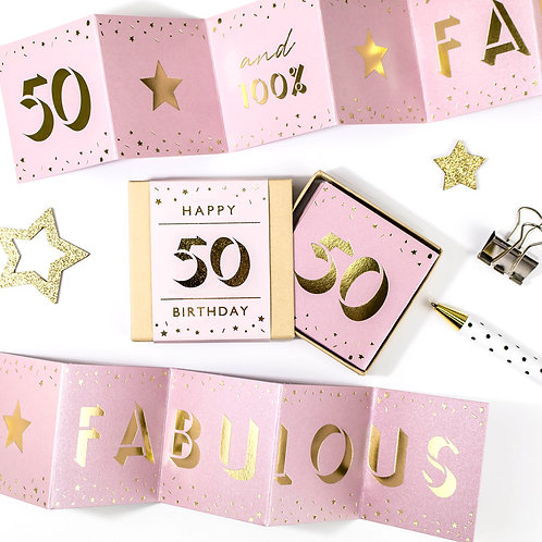 Fabulous | 50th Birthday Metallic Boxed Concertina x 3