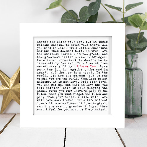 Love Quotes Framed Print in a Gift Box