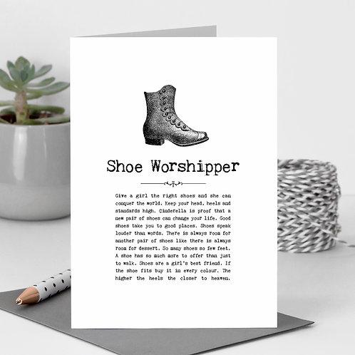 Shoe Worshipper Vintage Words Greeting Card x6