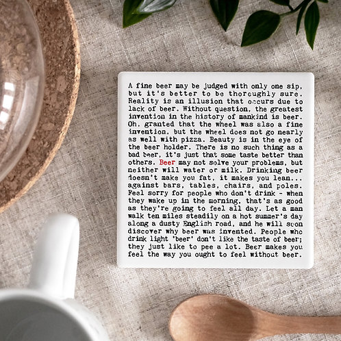 Beer Quotes Ceramic Drinks Coaster