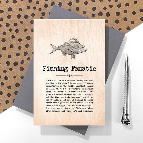 Fishing Fanatic Wooden Keepsake Card for Fishermen