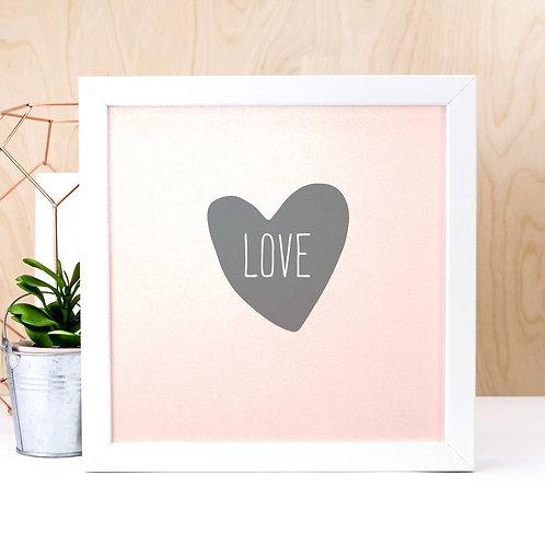 Loveheart Iridescent Pink Print x 3
