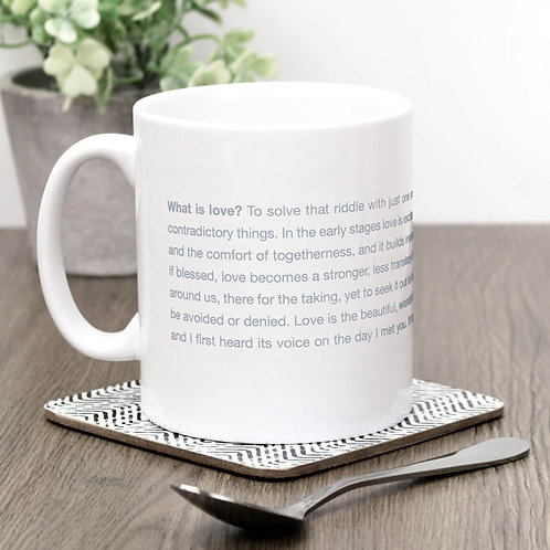 What is Love? Grey Minimalist Mug for Bride or Groom