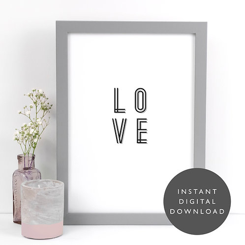 LOVE Art Deco A4 Printable Wall Art [DOWNLOAD ONLY]