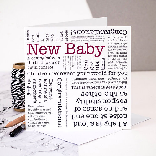 New Baby Quotes Card x 6