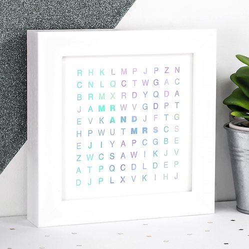Mr & Mrs Holographic Letters Framed Print