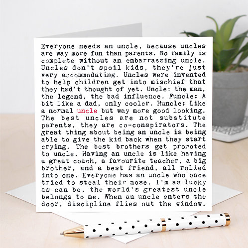 Uncle Greeting Card with Quotes