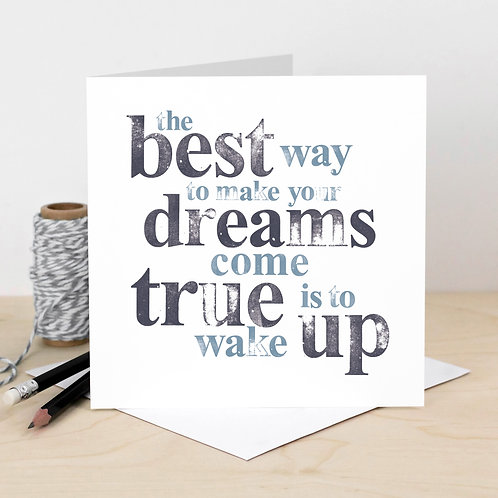 Dreams Hand-Stamped Quote Card