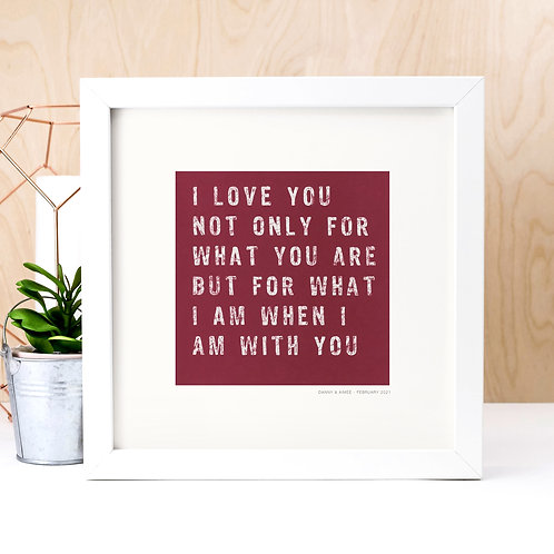 Personalised Love Quote Print for Valentine's Day