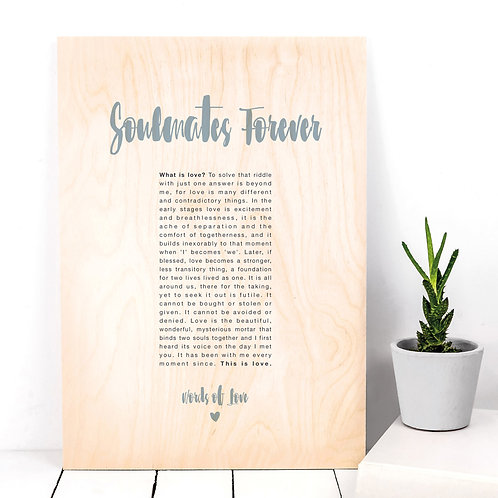 Words of Love Poem Wooden Plaque Anniversary Gift