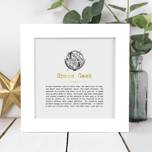 Space Geek Personalised Framed Quotes Print