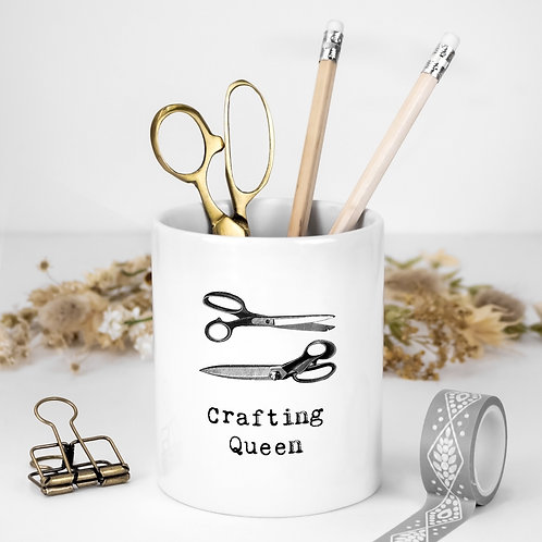 Crafting Queen White Ceramic Pen Pot