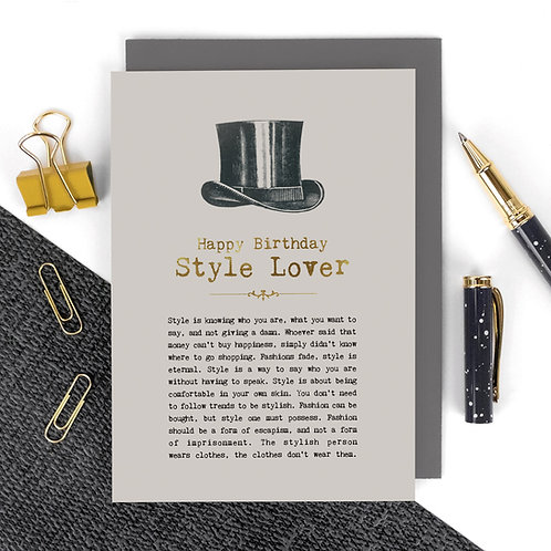 Style Lover Luxury Foil Birthday Card for Him