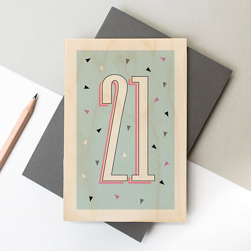 21st Birthday Funky Confetti Wooden Age Card