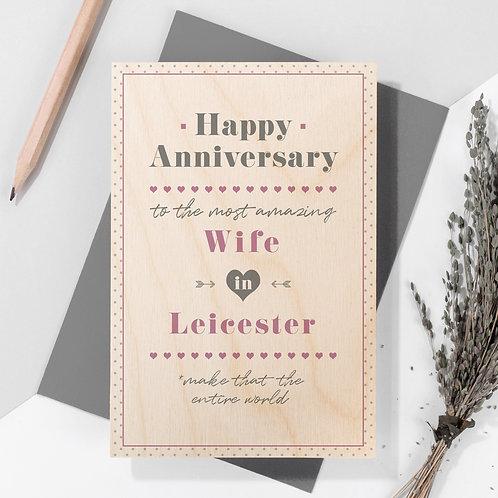 Anniversary Personalised Wooden Keepsake Card in Pink x 6
