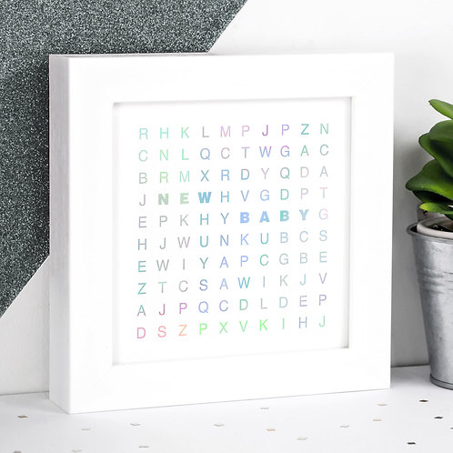New Baby Holographic Letters Framed Print