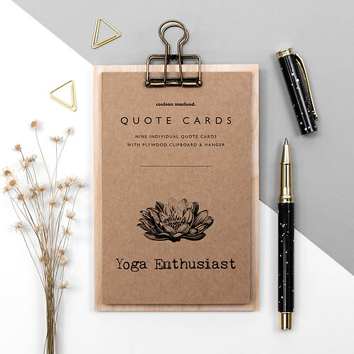 Yoga Lover Quote Cards on Mini Clipboard x 3