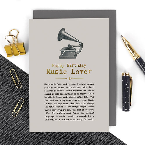 Music Lover Vintage Foil Birthday Card x 6
