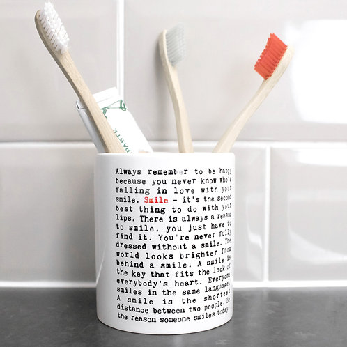 Smile | Wise Words Toothbrush Holder x 3