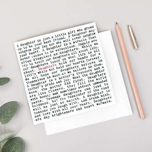 Daughter Card for Her with Heartwarming Quotes