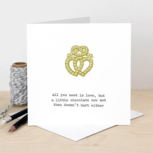 Funny Valentine's Card Love and Chocolate