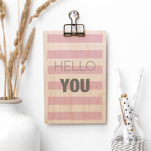 Hello You Striped Wooden Plaque with Hanger x 3
