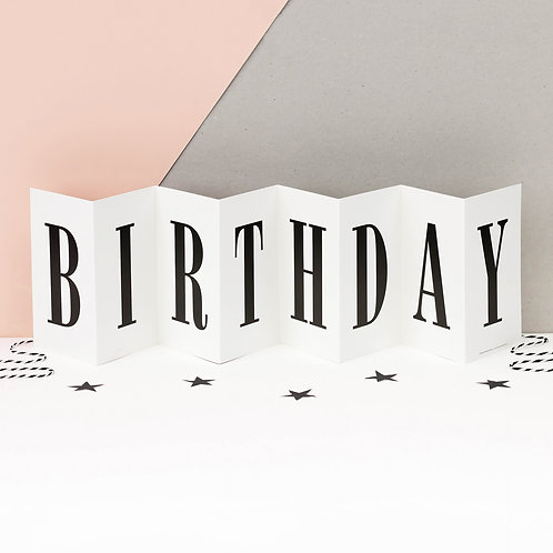 Happy Birthday Monochrome Concertina Card