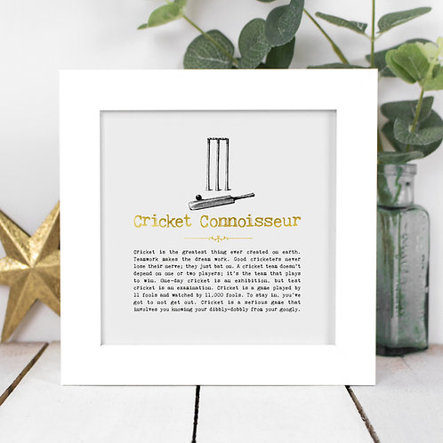 Cricket Connoisseur Personalised Framed Quotes Print