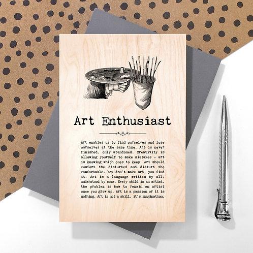 Art Enthusiast Personalised Wooden Keepsake Card