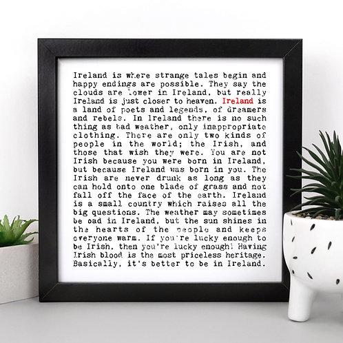 Ireland | Wise Words Irish Quotes Print