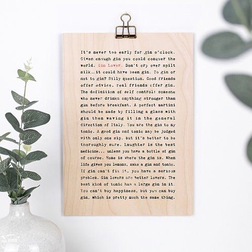 Gin Quotes Funny Wooden Sign with Hanger