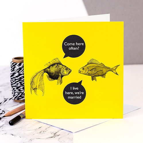 Marriage Forgetful Funny Fish Card x 6