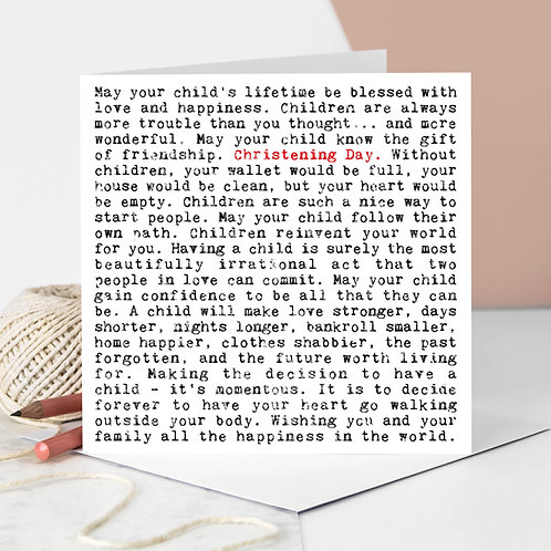 Christening Day Quotes Greeting Card