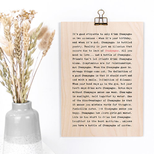 Champagne Quotes Funny Wooden Sign with Hanger