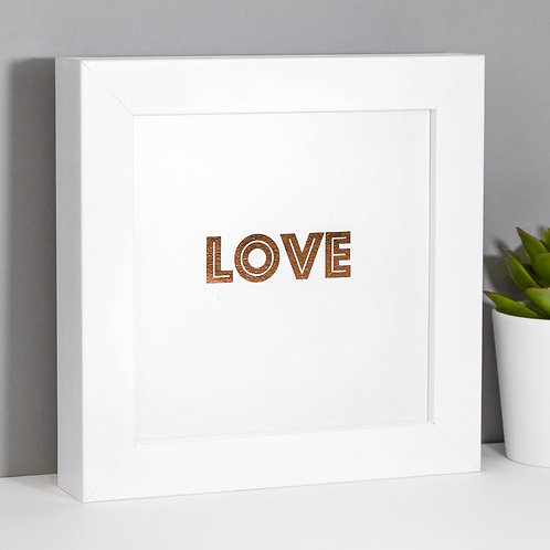 LOVE | Mini Rose Gold Pearlescent Framed Print