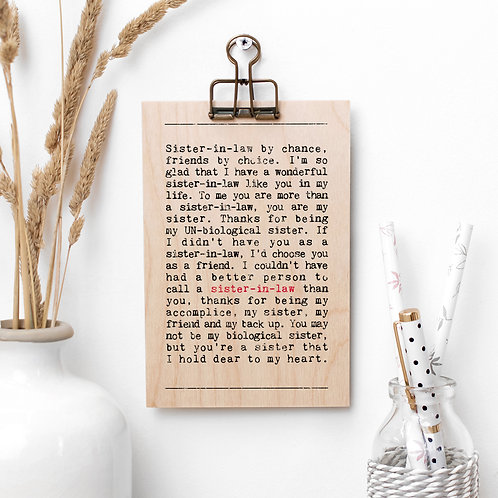 Sister in Law Wise Words Wooden Plaque with Hanger x 3