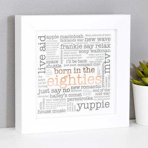 Born in the Eighties Mini Framed Print x 3
