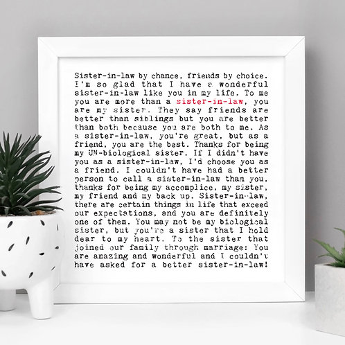 Sister-in-Law Wise Words Quotes Print