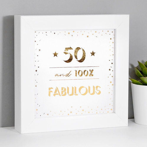 50th Birthday Fabulous Framed Mini Metallic Print