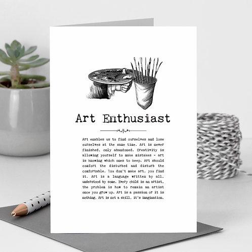 Art Enthusiast Vintage Words Greeting Card x 6