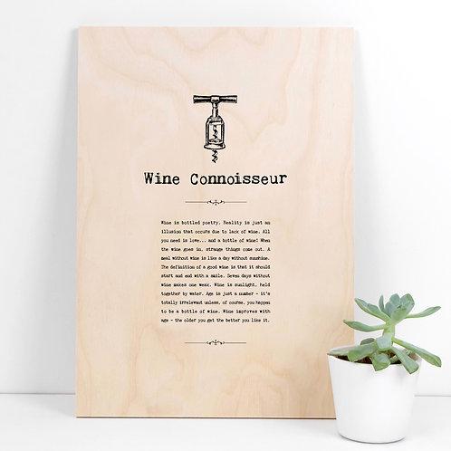 Wine Connoisseur A4 Wooden Quotes Plaque x 3
