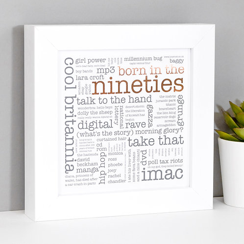 Born in the Nineties Mini Framed Print x 3