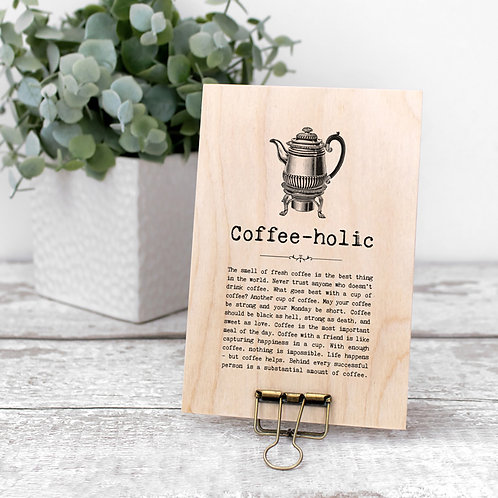 Coffee Quotes Mini Wooden Sign with Hanger
