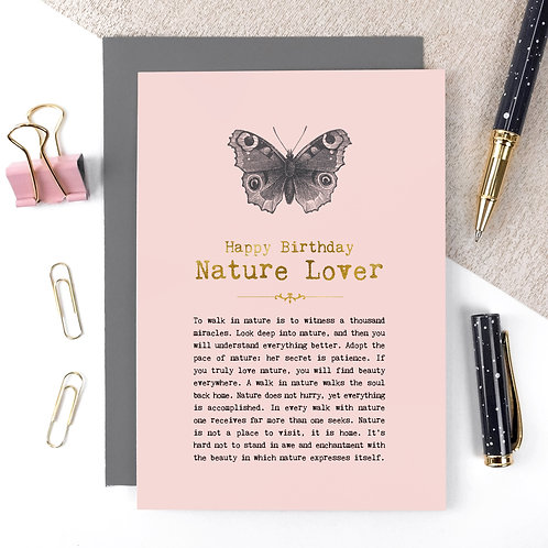 Nature Lover Vintage Foil Birthday Card x 6