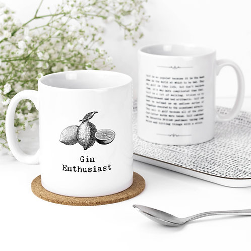 Gin Enthusiast Vintage Words Quotes Mug x 3