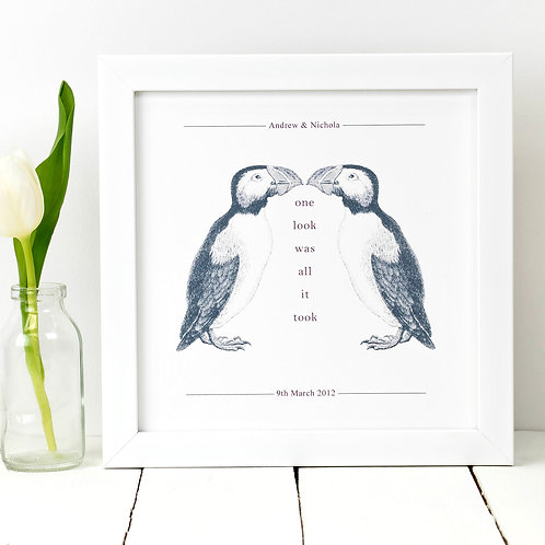 Puffins 'One Look Was All It Took' Love Print
