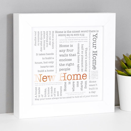 New Home Framed Copper Foil Print
