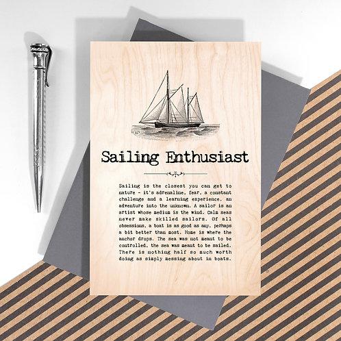 Sailing Enthusiast Mini Wooden Plaque Card x 6
