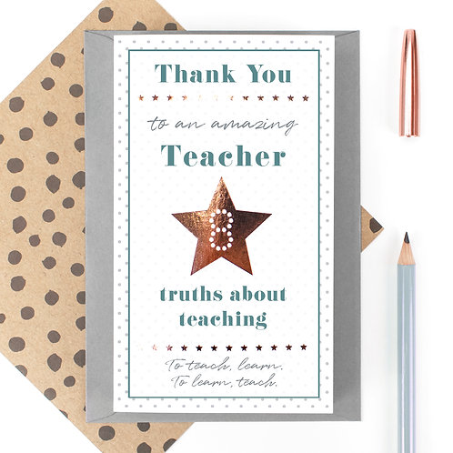 Amazing Teacher 8 Reasons Quotes Card from Students